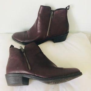 Shoes - Oxblood Block Heel Booties with Side Zipper